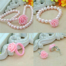 Flower Shape Pearls Kids Girls Child Necklace Bracelet Ring Ear Clips Set A