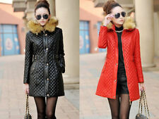 Women Winter Duck Down Hooded Long Jacket Fur Collar Coat Slim Warm Puffer Parka
