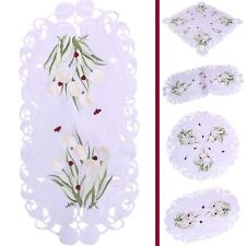 White Tulips and Red Ladybirds Embroidery Table runner Tablecloth Doily White