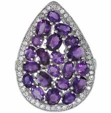 Amethyst Gemstone Glamorous Pear Sterling Silver Ring