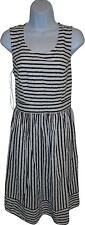 USED Ladies TU Navy And White Striped Frilly Dress Size 12 (L.W)