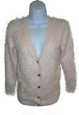 USED Girls Next Pink Fluffy Long Sleeve Cardigan Size 9-10 Years (L.W)