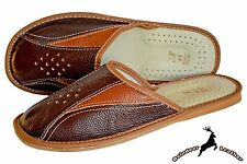 Mens Luxury Buffalo leather Handmade In Poland House Slippers Sandal Mule Scuff
