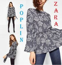 ZARA Contrast Print Peplum Shirt Long Sleeve New Poplin Top Plus Size 1X; 2X; 3X
