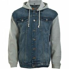 "KAM KINGSIZE MENS DENIM ""COCO"" JACKET / JERSEY SLEEVES & DETACHABLE HOOD 2XL 5XL"