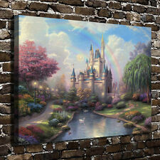 Oil Painting HD Print on Canvas Modern Deco,Cinderella Castle Scenery 24x32inch