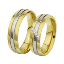 316L Stainless Steel Wedding CZ Band Gift 18K Gold Plated Couple Rings Size 5-13