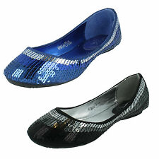 SALE GIRLS CUTIE H2193 BLUE BLACK SEQUINED SLIP ON FLAT PARTY SHOES