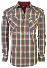 RODEO MEN'S WESTERN COWBOY RODEO PEARL SNAP SHIRT LONG SLEEVE PLAID 401 SAND