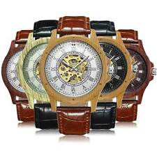 Mens Leather Band Wooden Skeleton Sport Analog Automatic Mechanical Wrist Watch