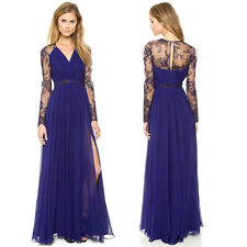 Sexy Women Lace Chiffon Long Dress Prom Formal Bridesmaid Cocktail Party Gown .