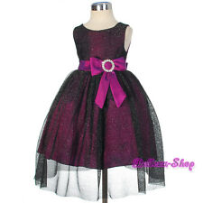 Diamante Shimmery Purple Dress Wedding Pageant Occasion Infant Size 9m-3T FG279