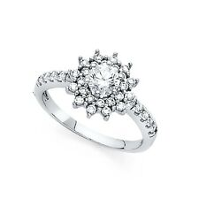 14k Yellow OR White Gold CZ Flower Engagement Ring Floral Ring Cluster Band