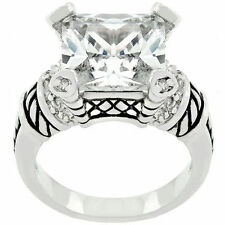 Kate Bissett Rhodium Plated Sparkling Princess Clear CZ Ring sizes  5 6 7 8 9 10