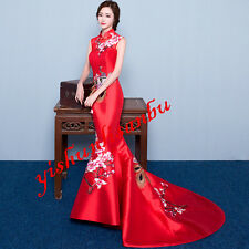 Womens Bride Cheongsam QiPao Chinese Embroidery Evening Party Long Wedding Dress