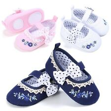 Infant Toddler Baby Girl Princess Bow-knot Embroidery Crib Anti-Slip Shoes 0-18M