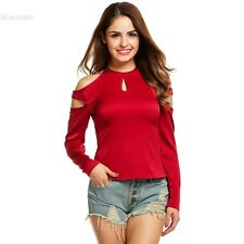 Women Fashion Sexy Slim Key Hole Cold Shoulder Solid Long Sleeve Blouse Top BLLT