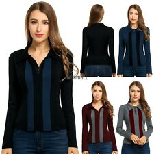 New Women Casual Long Sleeve Patchwork Polo Neck T-Shirt Tops LM05