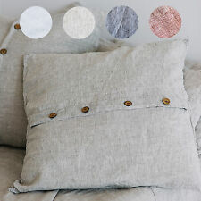 Shabby Pre washed 100% Linen Pillow sham EURO size pillow case buttons opening