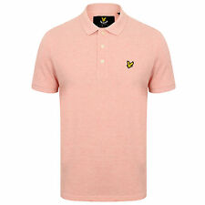 MENS LYLE & SCOTT LOGO BRANDED SP400VM POLO IN SOFT PINK MARL