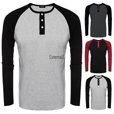 Men O-Neck Raglan Long Sleeve Patchwork Slim Fit Baseball T-Shirt Tops LM02