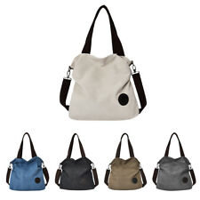 Fashion Plain Canvas Shoulder Bag Large Capacity Women Shopping Handbag Tote