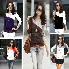 Hot Fashion Stylish European Style Lady Women's Long Sleeve Splicing Tops LM02