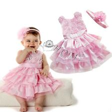 Flower Girls Princess Dress Kids Baby Party Pageant Tulle Tutu Dresses Headband