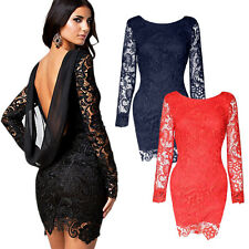 Sexy Women Lace Backless Chiffon Party Cocktial Evening Club Bodycon Mini Dress