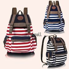 New Fashion Women Girls Backpack Canvas Stripe Leisure Bags School Bag 3 LM02