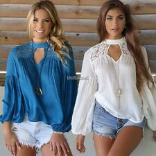 Women Fashion Casual Round Neck Long Sleeve Key Hole Hollow Lace Patchwork WST