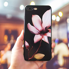 New Korea Style Black Silicone Gel Flower Soft Phone Case For iPhone 6/6s/7 Plus