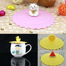 Anti-dust Glass Cup Cover Mug Seal Lid Silicone Cartoon Airtight Spoon 67B