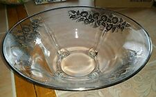 "STERLING SILVER OVERLAY  Vtg Clear Glass 11.5"" pedestal bowl Honeysuckle?"