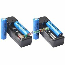 4x 3.7V 18650 Li-ion 3800mAh Rechargeable Battery + 2x 18650 Charger