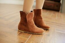 New Women's Casual Ankle Boots Black Brown Red Beige Flat Pull On Comfort Boots