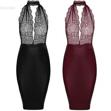 Zeagoo Sexy Women Lace Halter Neck Backless Bodycon Cocktail Party Dress BLLT