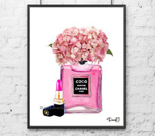 Coco Chanel Poster with pink hydragenia and pink chanel lipstick chanel print