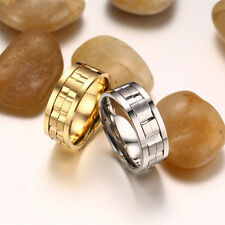 Fashion Spinner Silver/Gold Stainless Steel Men/Womens Engagement Ring Size 6-13