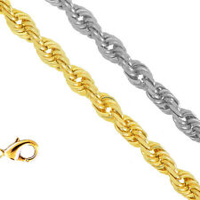 10k Solid Yellow Or White Gold 1.5mm Diamond-Cut Rope Chain Bracelet Necklace