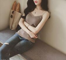 Women Fashion Simple Strap Vest Solid Color Knitted Shirt Sexy Party Nightwear