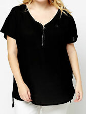 NEW -EX NEW LOOK BLACK ZIP FRONT FAUX LEATHER TRIM TOP PLUS SIZE - SIZES 20 - 26