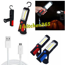 3W COB LED Rechargeable Magnetic Torch Flashlight Hook Camping Home Emergency UK