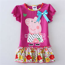 Lovely Kids Girls Peppa Pig Short Sleeve Flower Cotton Carton Party Dress 2-6Y