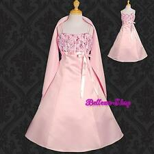 Satin Formal Dress + Shawl Flower Girl Wedding Party Pageant Size 2T-14 FG047