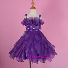 Purple Ruffle Princess Dress Wedding Flower Girl Pageant Party Size 3T-7 FG274