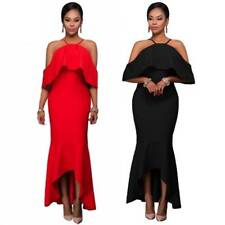 Ruffle Sleeve Off Shoulder High Low Fish Tail Hem Maxi Long Gown Party Dress