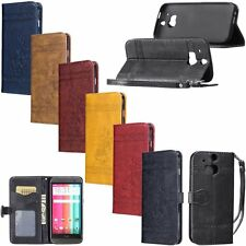 Retro Leather Skin Flip Wallet Card Kickstand Cover Phone Case For HTC One M7 M8