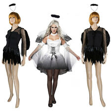 Corpse Zombie Bride Costume Halloween Masquerade Fancy Dress With Feather Wings