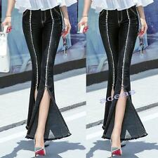 Chic Women Slim Casual Trouser Denim Bell-Bottoms Wide Leg Pants Flared Jeans @@